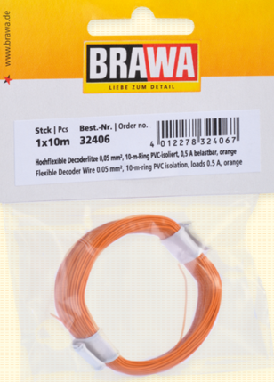 Brawa, 32406, HOCHFLEXIBLE DECODERLITZE, 0,05 MM², ORANGE